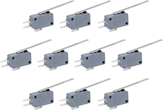 uxcell10pcs AC 250V 15A Straight Hinge Lever Micro Limit Switch for CNC