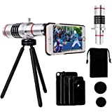 Telephoto lens for iphone, Luxsure Camera Lens Kit Including 18x Aluminum Telephoto Lens + Aluminum Mini Tripod + Hard Case + Velvet Bag for iPhone 7 Plus/ 7/ iPhone 6s Plus/ 6s/ 6 Plus/ 6/ 5s/ 5