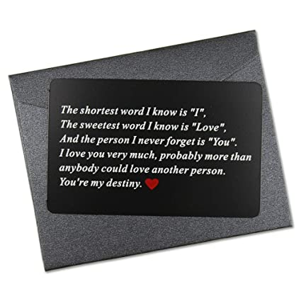 Vanfeis Metal Engraved Mini Love Note Wallet Insert Card