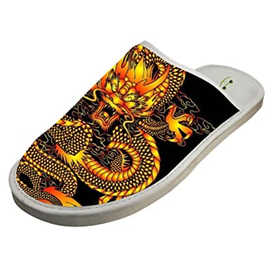 Slippers with Chinese Dragon Emperor Original Indoor Sandals Comfy Shoes  Flat Winter Sleeppers 6 B( b3553df0936b