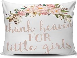 XIUBA Pillowcases Pink Green and White Boho Thank Heaven for Little Girls Nursery Customizable Decorative Rectangle 12X16 inch Boudoir Size Throw Pillow Cover Hidden Zipper One Sided Design Printed