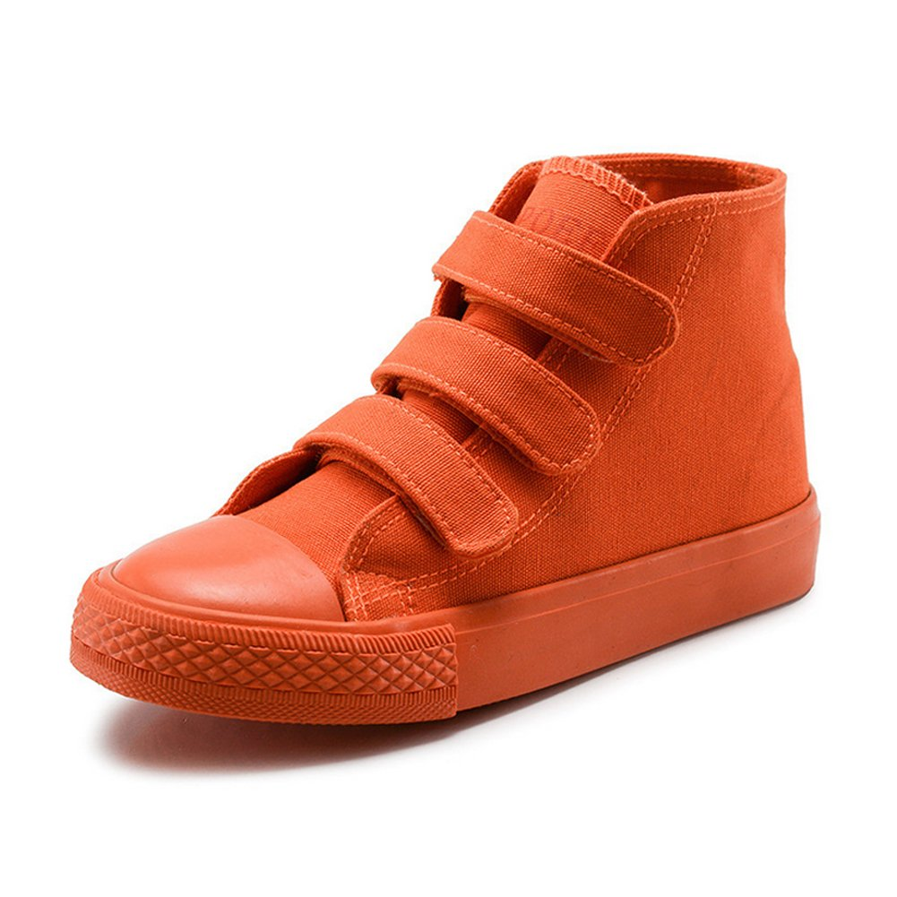 Boy's Girl's High-Top Casual Strap Canvas Sneakers, Orange, Little Kid, Size 11