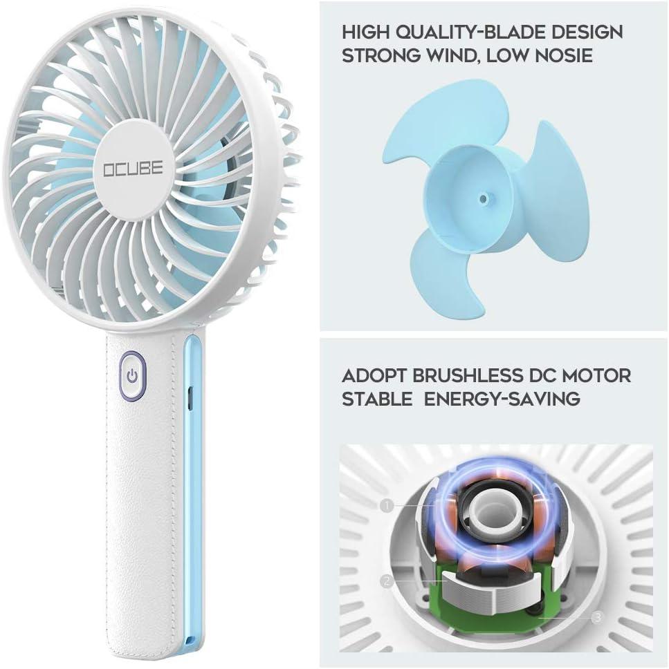 OCUBE Mini Ventilador de Mano Ventilador portátil Recargable USB con Luz LED 2200mAh 18650 li-Ion Ventilador Batería Recargable para Oficina, Hogar y Viajes -Azul: Amazon.es: Electrónica