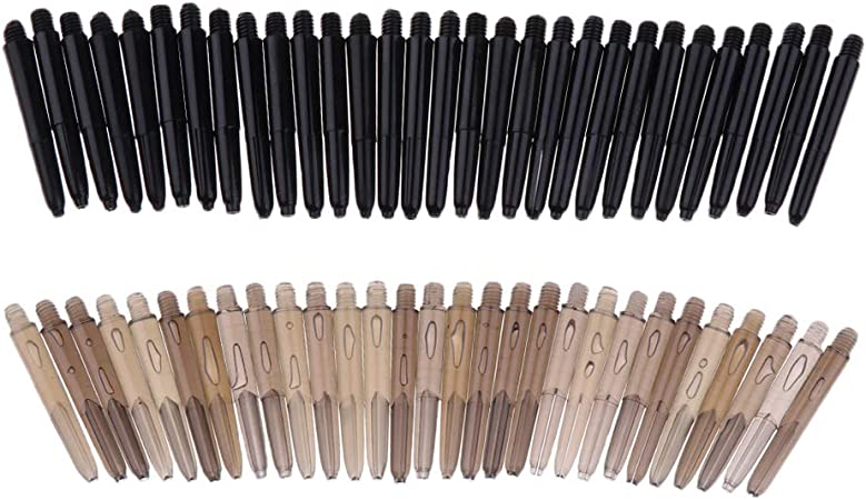 60 Pcs 54mm Thread Plastic Re-Grooved Dart Stems Shafts Accessories Black