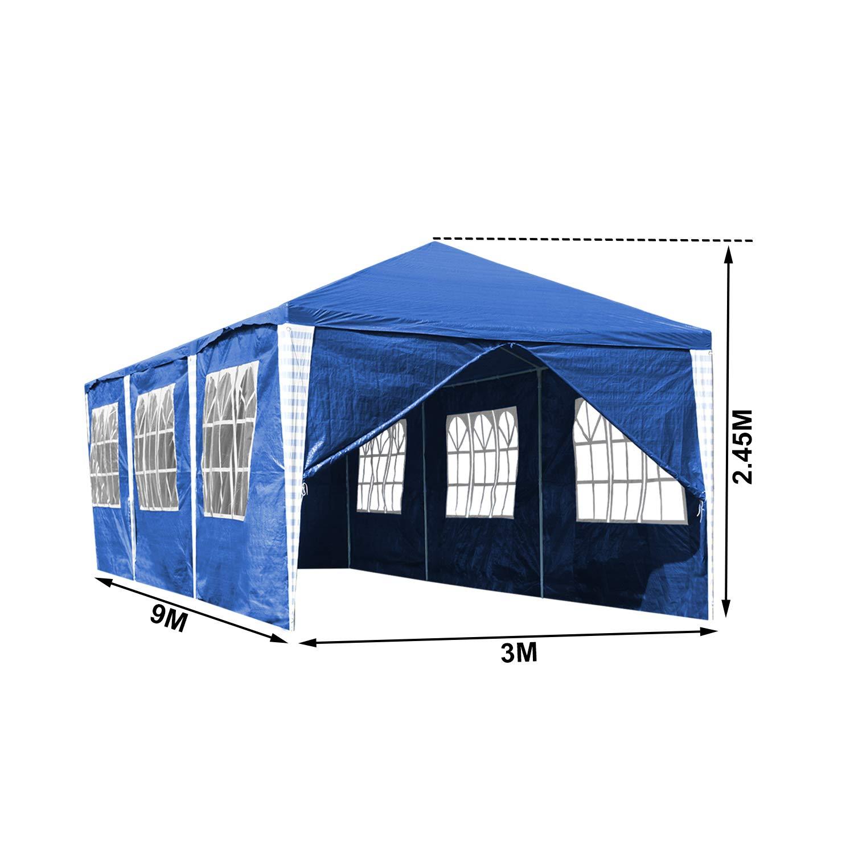Wolketon Carpa plegable con laterales cenador 3 x 9 m jard/ín para fiestas para jard/ín//fiesta//boda//picnic//mercado color blanco