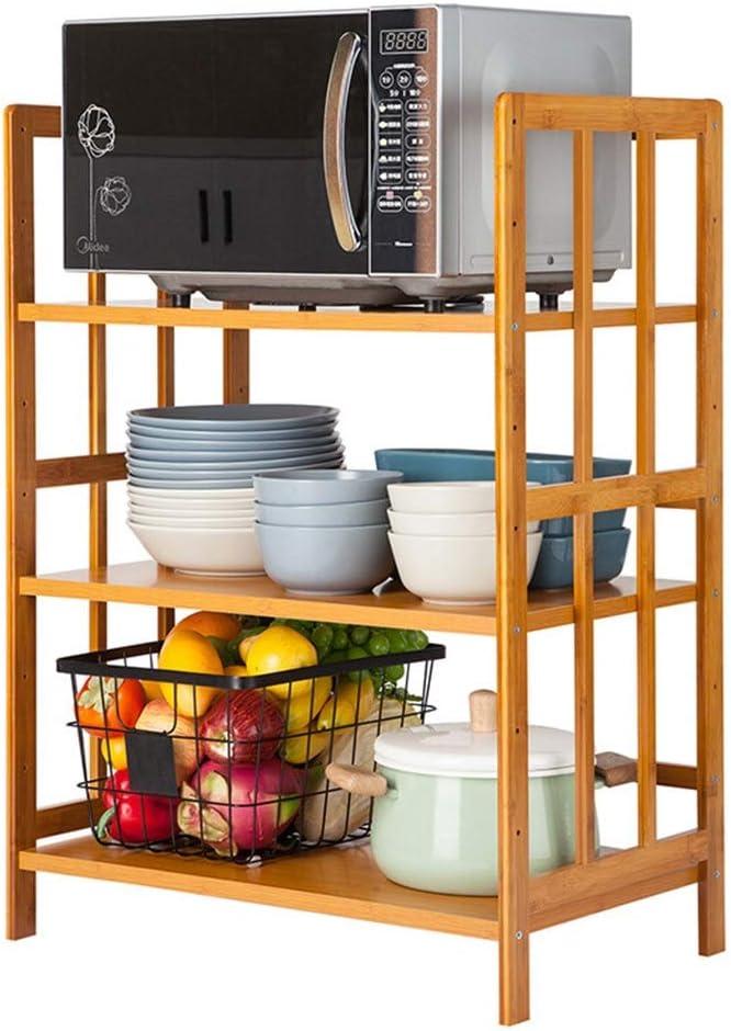 家庭用キッチンバスルーム収納ラック 多機能電子レンジは、竹ストレージラックアジャスタブルキッチンオーガナイザーシンプルなオーブンラック・レイヤー・スペースラック 多目的