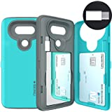 LG G5 Case, G5 Card Case, SKINU [USB type C] [Dual Layer] [Card Slot] [Drop Protection] [Wallet] with Mirror and Adapter For LG G5 - Teal