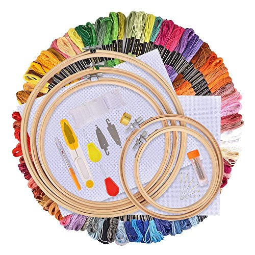 Embroidery Starter Kit Cross Stitch Kits Including AFDEAL 100 Colors Embroidery Floss Thread, 5 Pieces Bamboo Hoops, Aida Cloth, Needles, Scissors and Thimble Set -