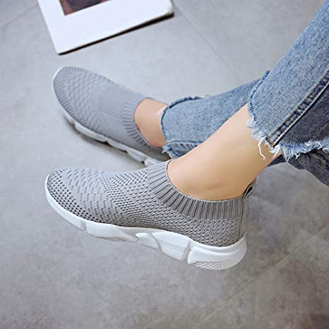 Amazon.com: Womens Flats Sneakers, Casual Slip-on Lightweight Breathable Sports Shoes for Running Hiking Walking: Clothing