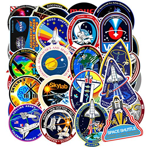 FXBUY 45 PCS Mixed Different Universe NASA Space Shuttle Stickers Spaceship Science Creative for Kids Laptop Skateboard Toy Stickers (Spaceship)