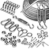 YISUN Stainless Steel Outdoor Globe String Suspension Kit, Lights Hanging Kit, Outdoor Light Guide Wire,Heavy Duty Stainless Steel Cable Railing Kits Include 150 FT Wire Rope Cable,Turnbuckle and H