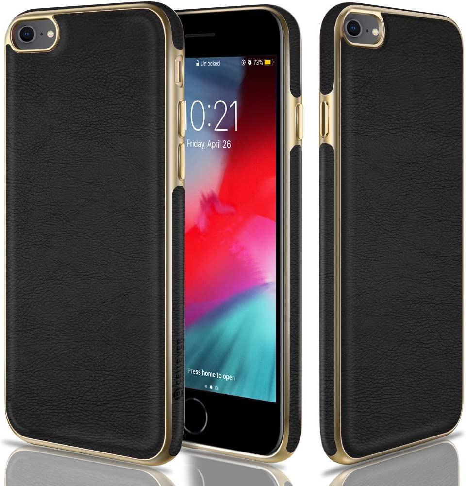 CellEver Compatible with iPhone SE 2020 Case/iPhone 7 Case/iPhone 8 Case, Premium Leather Guard Thin Slim Soft Flexible Scratch-Resistant Anti-Slip Luxury Vegan Leather Cover (Black/Gold)