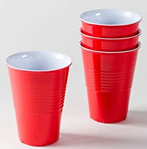 "Set of 4 Reusable Melamine Red ""Plastic"" Party Cups"