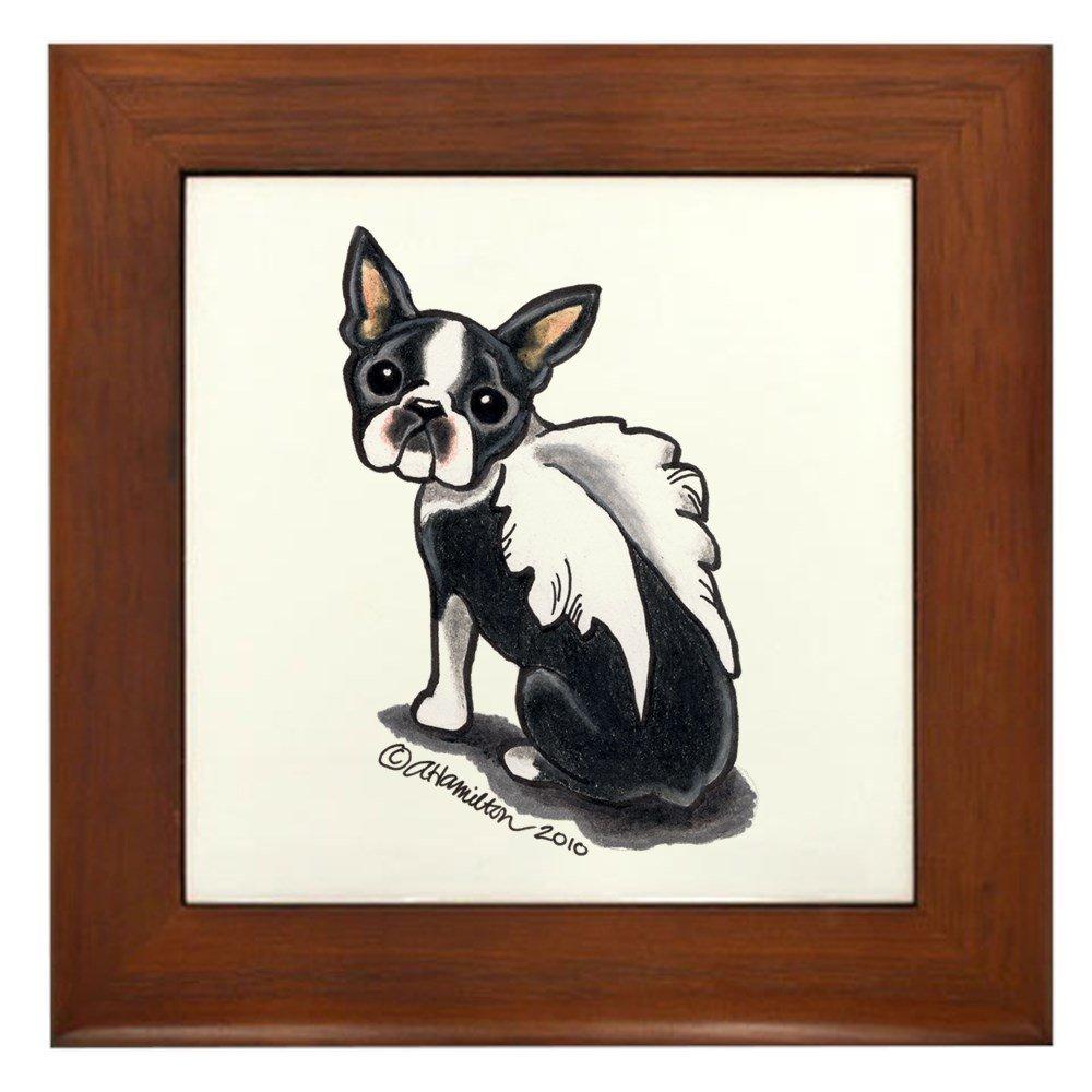 CafePress - Boston Terrier Angel - Framed Tile, Decorative Tile Wall Hanging