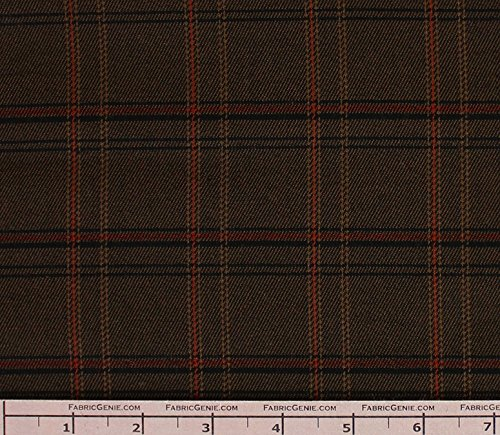Cooper Poly Rayon Plaid Stretch Suiting Fabric, Stretch Suiting Fabric, Suiting Fabric-BROWN/RUST (Brown Suiting)