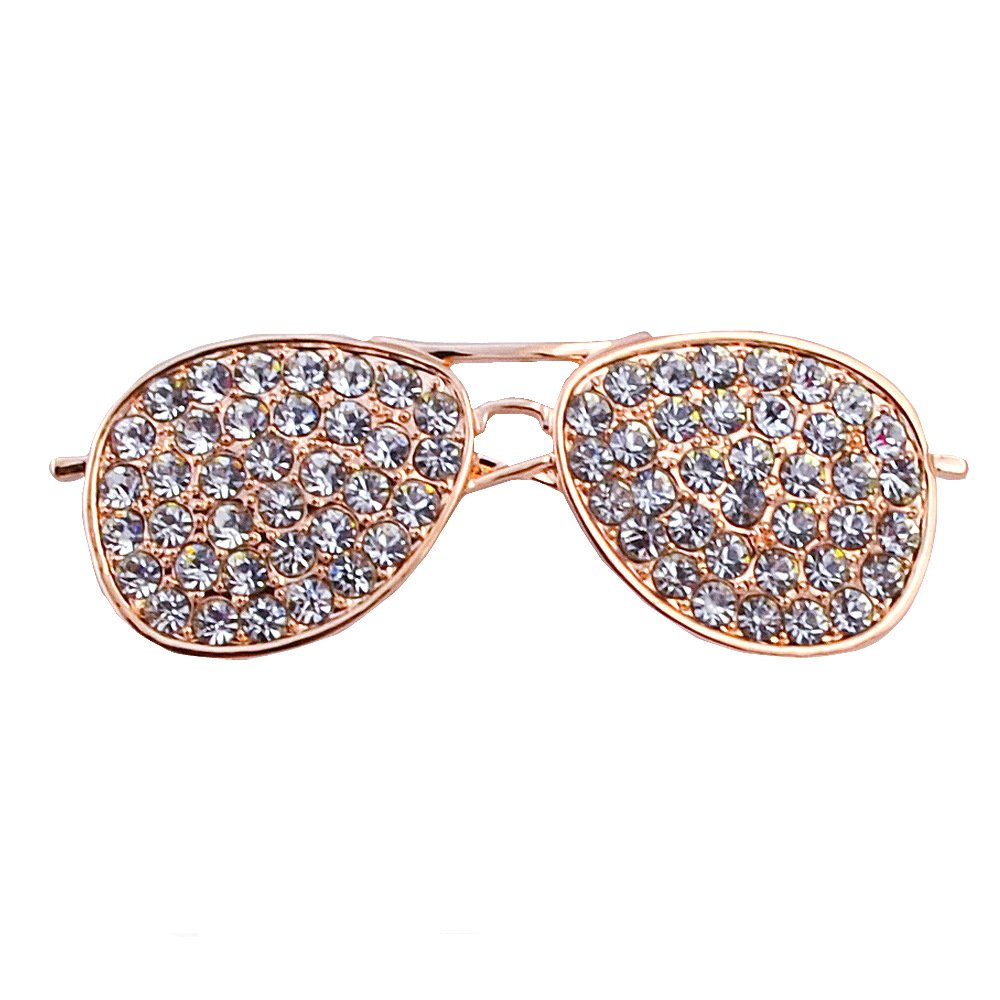CHUYUN Cool Sunglasses Brooches Pin For Women Gold And Silver Color Jewelry Rhinestone Lapel Pin (gold)