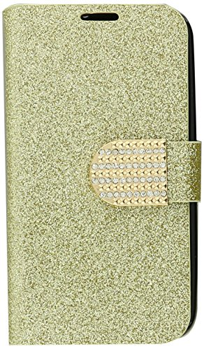 HR Wireless LG L70/Optimus Exceed 2 Shiny PU Leather Bling Flip Wallet Credit Card Cover Case - Retail Packaging - Gold