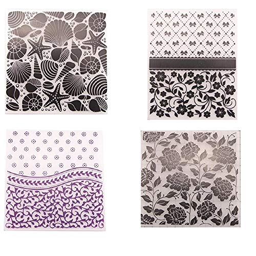 (Welcome to Joyful Home 4pcs/Set Seashell Flower Background Embossing Folder for Card Making Floral DIY Plastic Scrapbooking Photo Album Card Paper DIY Craft Decoration Template Mold)