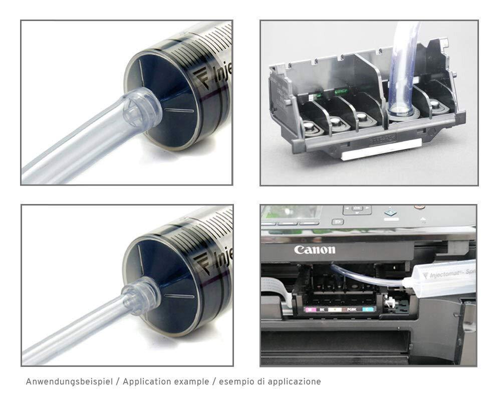 Limpiador de boquillas de 250 ml, limpiador de cabezales de impresión para cabezales de impresión Canon Pixma con adaptadores de manguera