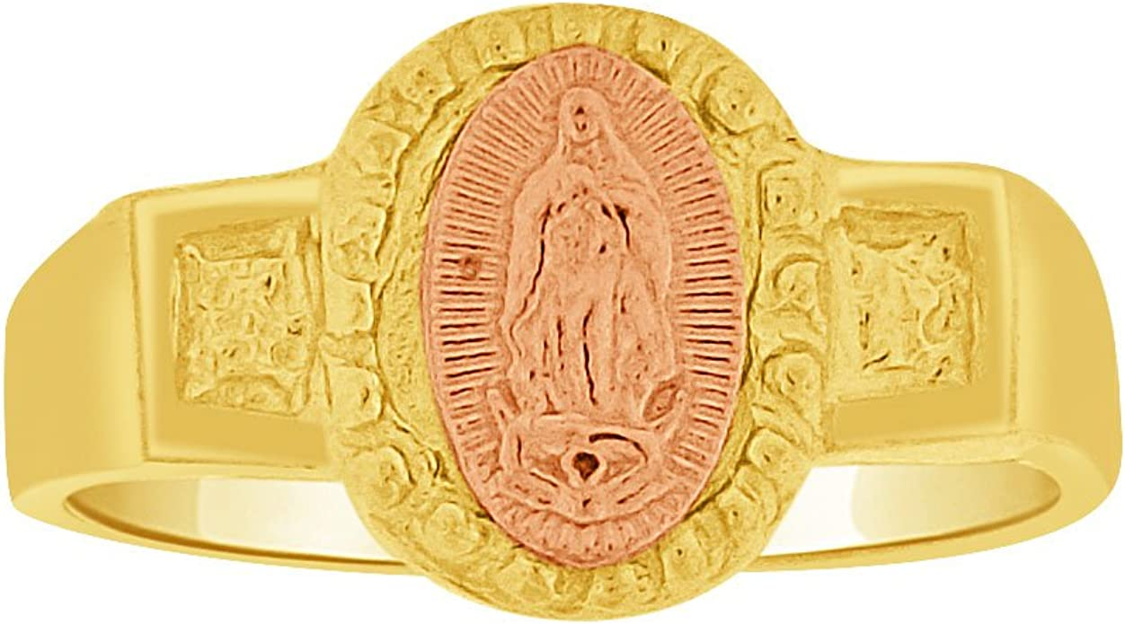 14k Tri Color Gold Cubic Zirconia Border Blessed Virgin Mary Small Pendant