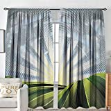 Blackout Curtains for Bedroom Psychedelic,Field Rolling Hills Sunrise Village Pastoral Digital Effects,Green Blue and Pale Yellow,Thermal Insulated Darkening Panels for Cafe Windows 100'x96'