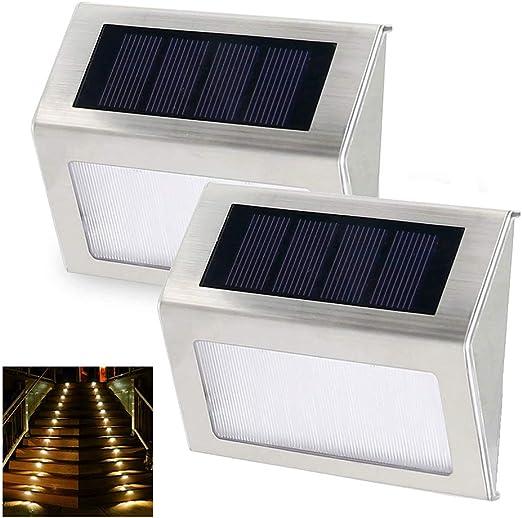 P12cheng luz LED Solar, 2 Piezas de Metal para Exteriores, luz Solar para Escalera, lámpara de Pared para Caminos, Jardines, porches: Amazon.es: Jardín