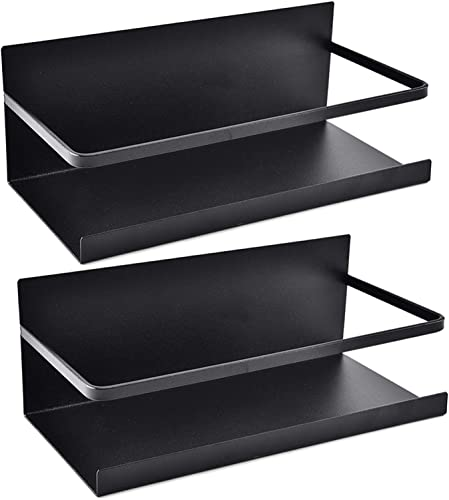 Kulmeo Magnetic Refrigerator Shelf Magnetic Spice Rack for Refrigerator Fridge Spice Rack Spice Shelf for Kitchen Black 2Pack