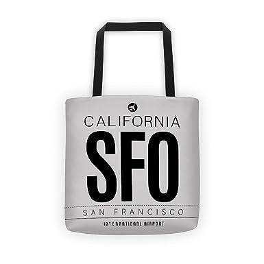 Amazon.com: SFO – Bolsa de código de aeropuerto (negro/plata ...