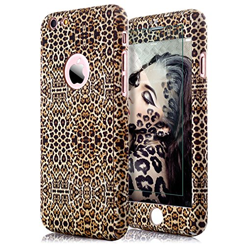 iphone 6S Plus Leopard Print Case,iphone 6 Plus Case,sxxissky Premium Ultra-thin Full Body Coverage Slim Hard Plastic[Tempered Glass Screen] Protective Case Cover for Apple iPhone6 Plus/6S Plus(Brown)