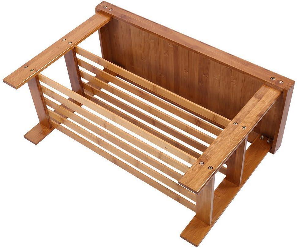 Greensen Bambus Schuhschrank 3 Ablagen Sitzbank Schuhregal Schuhbank Schuhschrank 74 x 32 cm