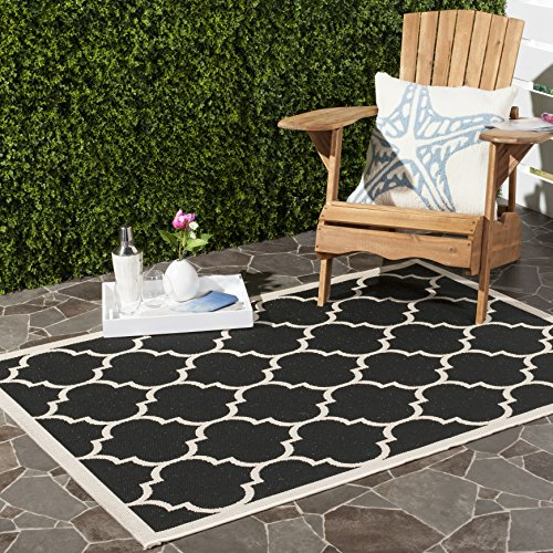 Safavieh Courtyard Collection CY6914-266 Black and Beige Indoor/ Outdoor Square Area Rug (7'10