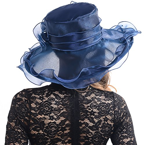 Women Sheer Kentucky Derby Church Wide Brim Hat with Large Flower S019B (S060-navy)
