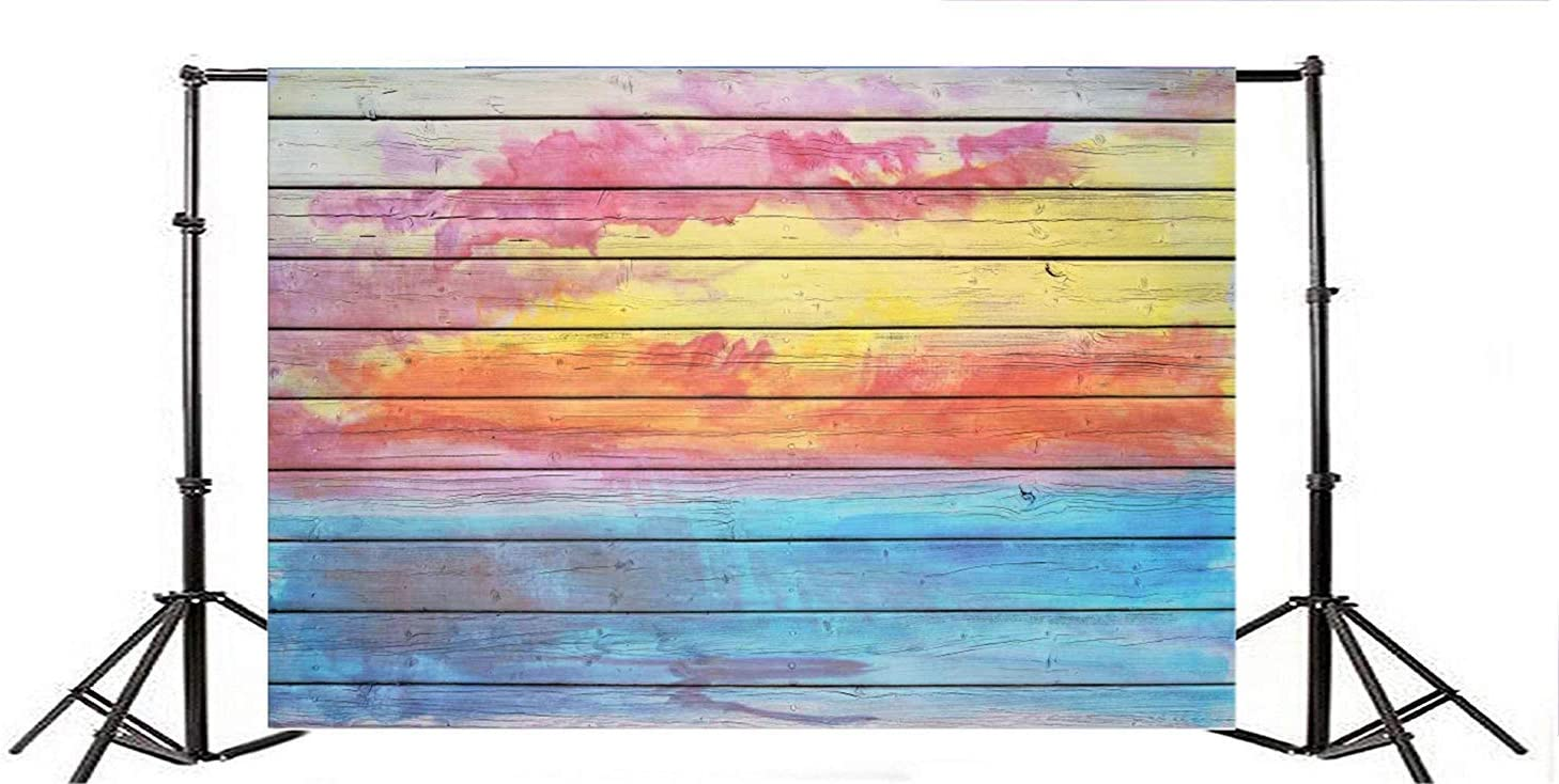 Polyester 10x6.5ft Grunge Colorful Painted Lateral-Cut Wood Plank Photography Background Artistic Wooden Board Backdrop Children Adult Pets Portrait Shoot Studio Props