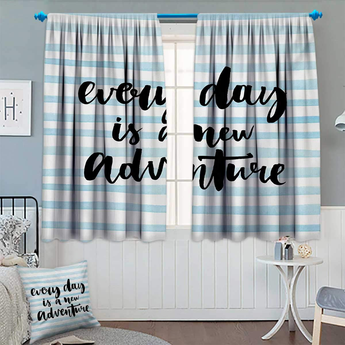 Chaneyhouse Adventure Thermal Insulating Blackout Curtain Every Day is a New Adventure Quote Inspirational Things About Life Artwork Patterned Drape for Glass Door 55'' W x 39'' L Baby Blue Black
