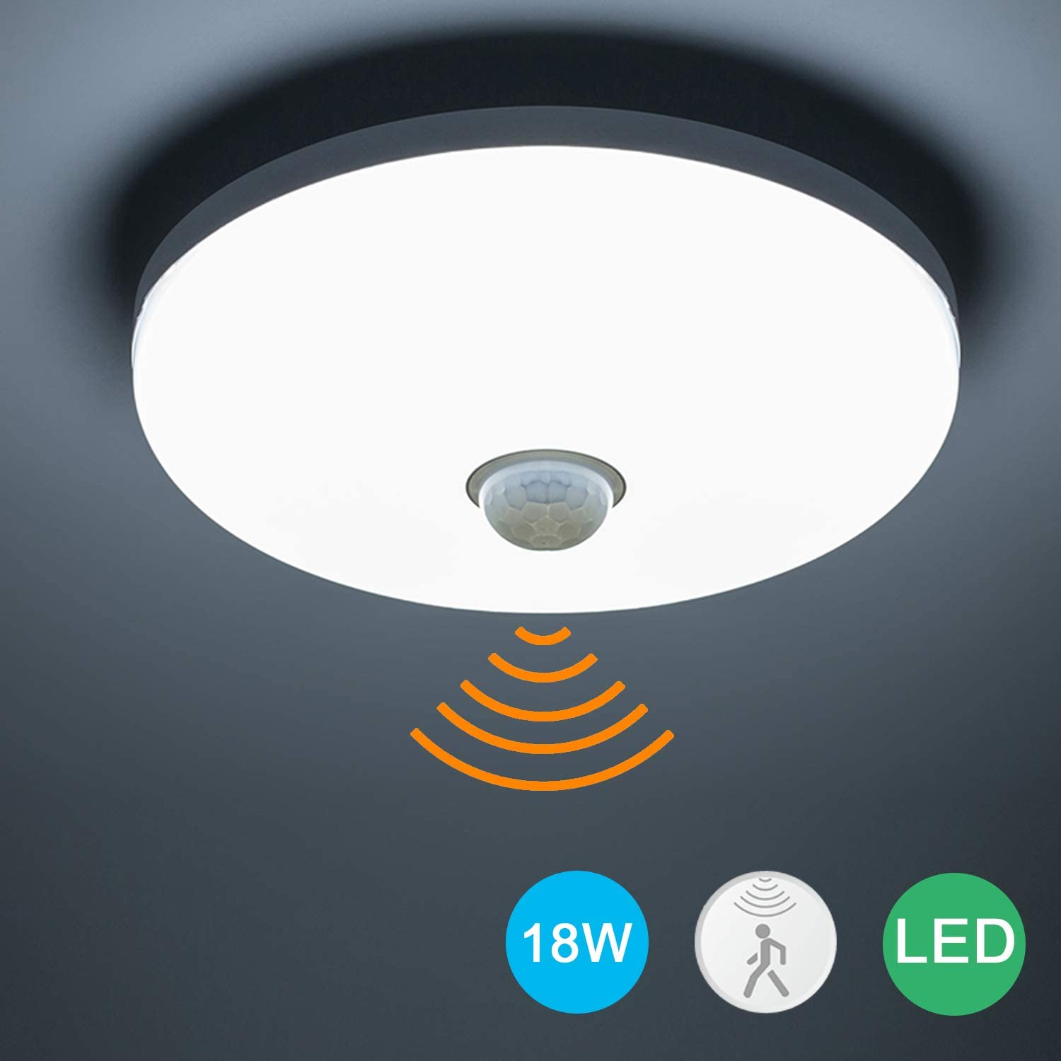 Round 18W LED Ceiling Light Daylight Downlight PIR Infrared Motion Sensor Lamp