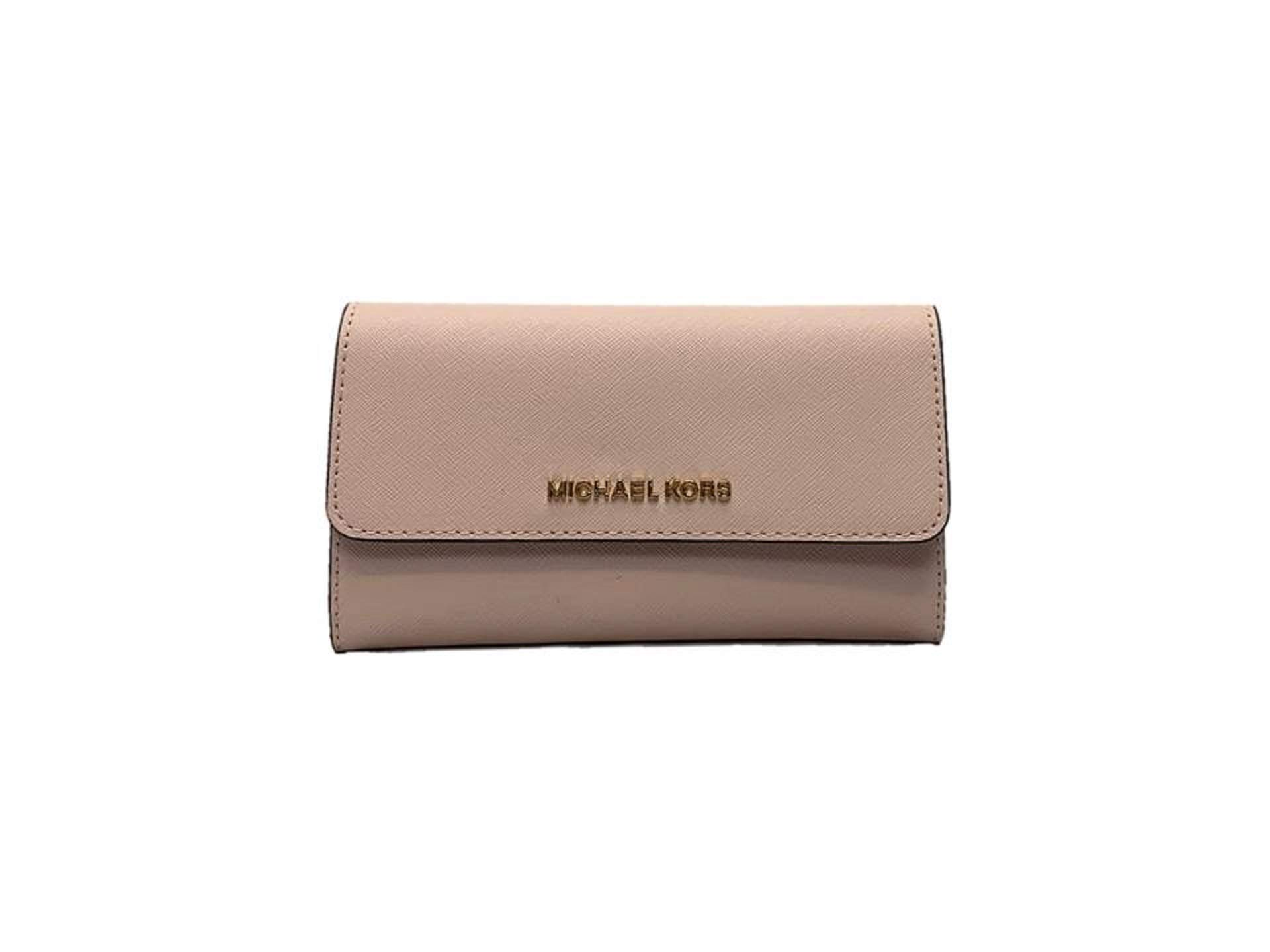 Michael Kors Jet Set Travel Large Trifold Saffiano Leather Wallet - Blossom/Fawn