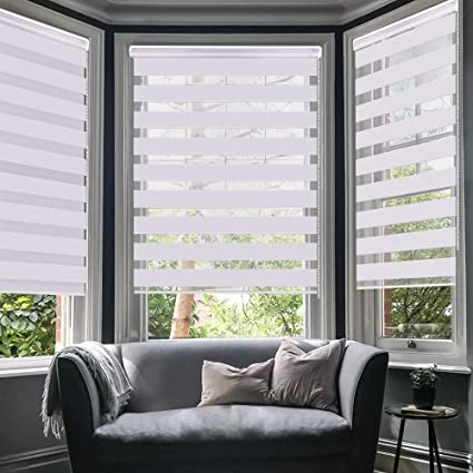 WYMO Horizontal Window Day and Night Zebra Shade Roller Blinds Curtains with Valance White Easy to intall 54.25 X 64 inch