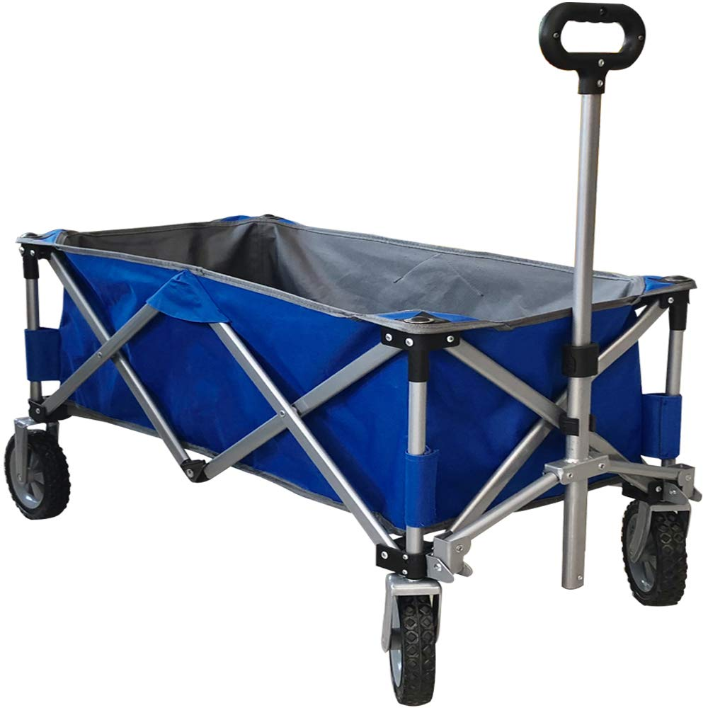 Eurmax Sports Collapsible Sturdy Steel Frame Garden Carts on Wheels Utility Beach Wagon Cart,Bonus 8x8Ft Picnics Mat (Blue)