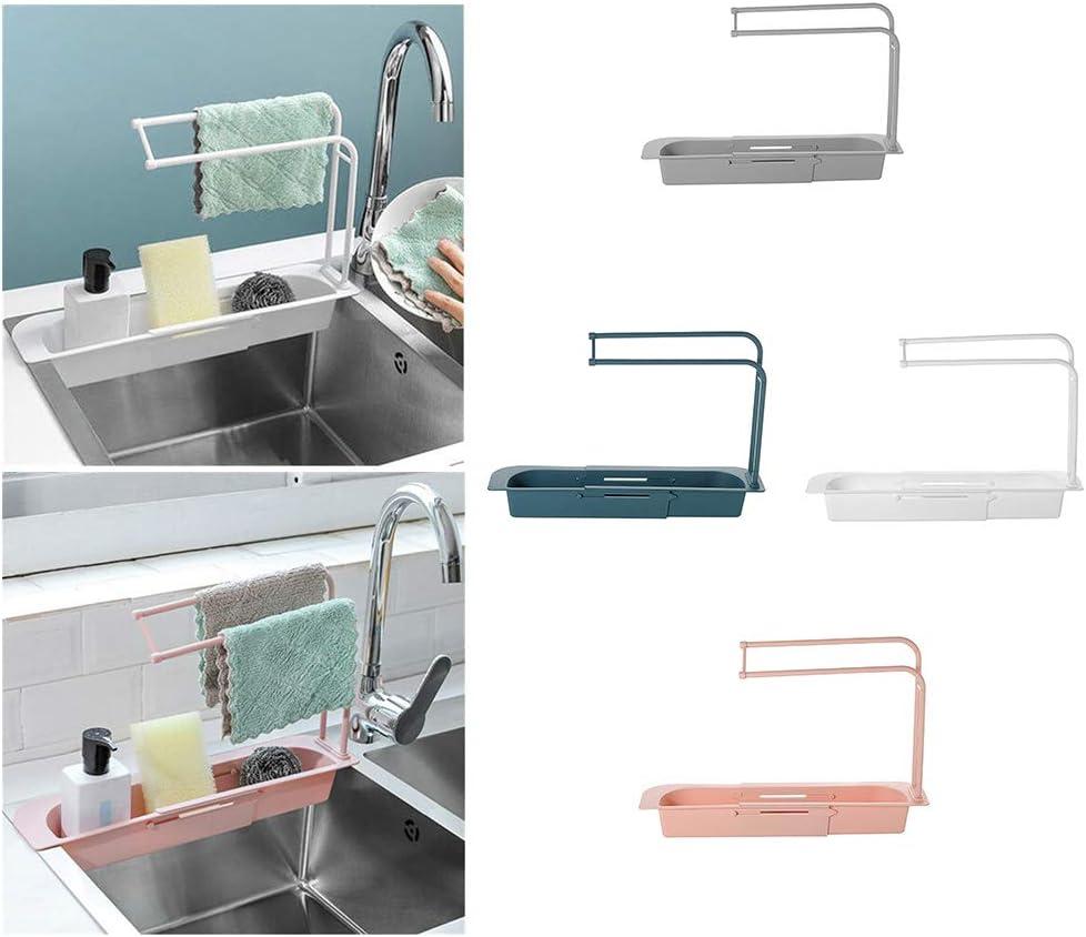 porte-savon de salle de bain accessoires d/évier de cuisine /égouttoir /à /éponge t/élescopique panier de rangement pour /évier Koowaa Porte-/éponge r/églable /étag/ère d/évier