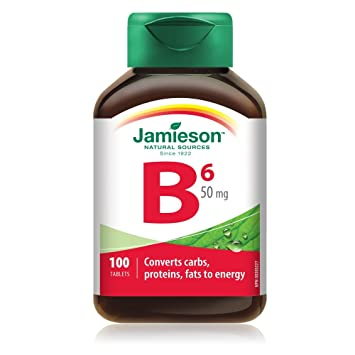 Jamieson Vitamin B6 (Pyridoxine) 50 mg, 100 tablets