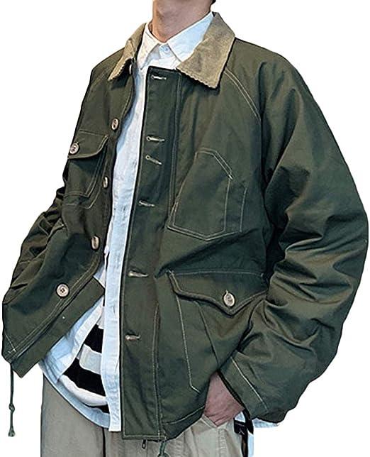 habille(ハビー)メンズ ミリタリー ワークジャケット風 シルエット アウター 2カラーデザイン 古着系 M/L/XL/2XL おまけ付(2カラー)