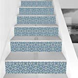 Stair Stickers Wall Stickers,6 PCS Self-adhesive,Vintage,Curvy Circular Repeating Floral Motifs Abstract Hand Tile Ethnic Pattern,Blue Baby Blue Green,Stair Riser Decal for Living Room, Hall, Kids Roo