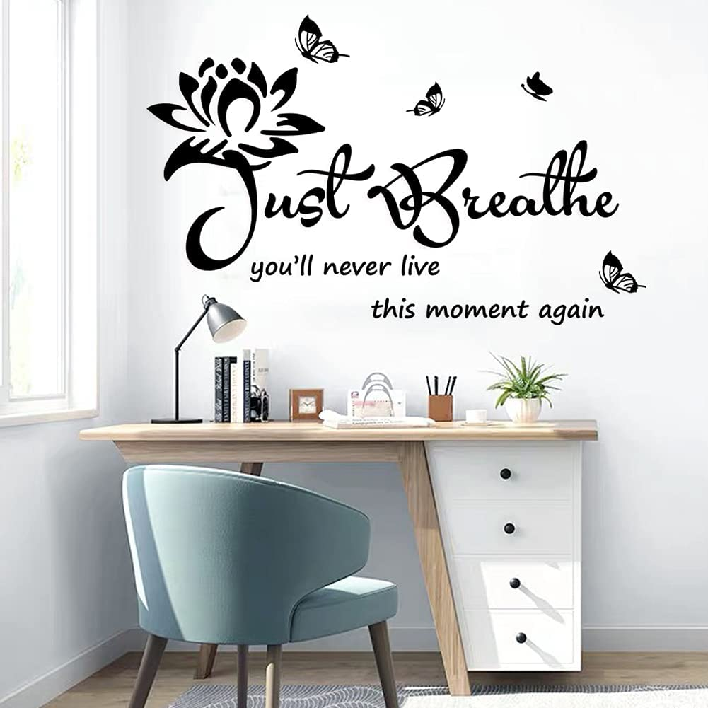 Vinyl Wall Stickers Wall Decor for Living Bedroom Room Yoga Relaxing Nursery House Wall Decals Quotes Inspirational Just Breathe Art Decor Home Decoration.