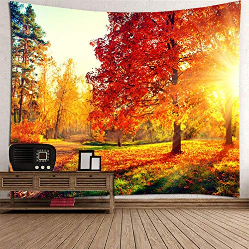 KABAKE Fall Tapestry, Vibrant Misty Day in Forest Sun Rays Trees Foliage Fallen Leaves Calm View, Wall Hanging for Bedroom Living Room Dorm, Orange Yellow Green Golden ()