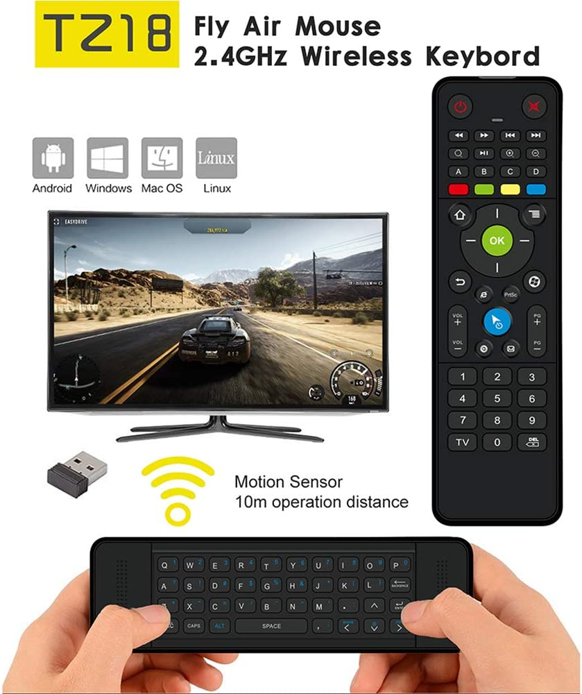 Calvas Air Mouse TZ18 Backlight Wireless Mini Keyboard Double-side Handheld Remote Control 6-Axis Sensor Gyroscope for Android TV Box