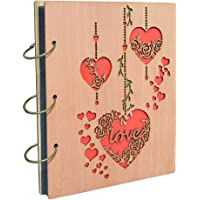 Calenzana 5x7 Love Photo Album Heart Wooden Picture Albums Book with 120 Pockets Wedding Anniversary Valentines Gifts