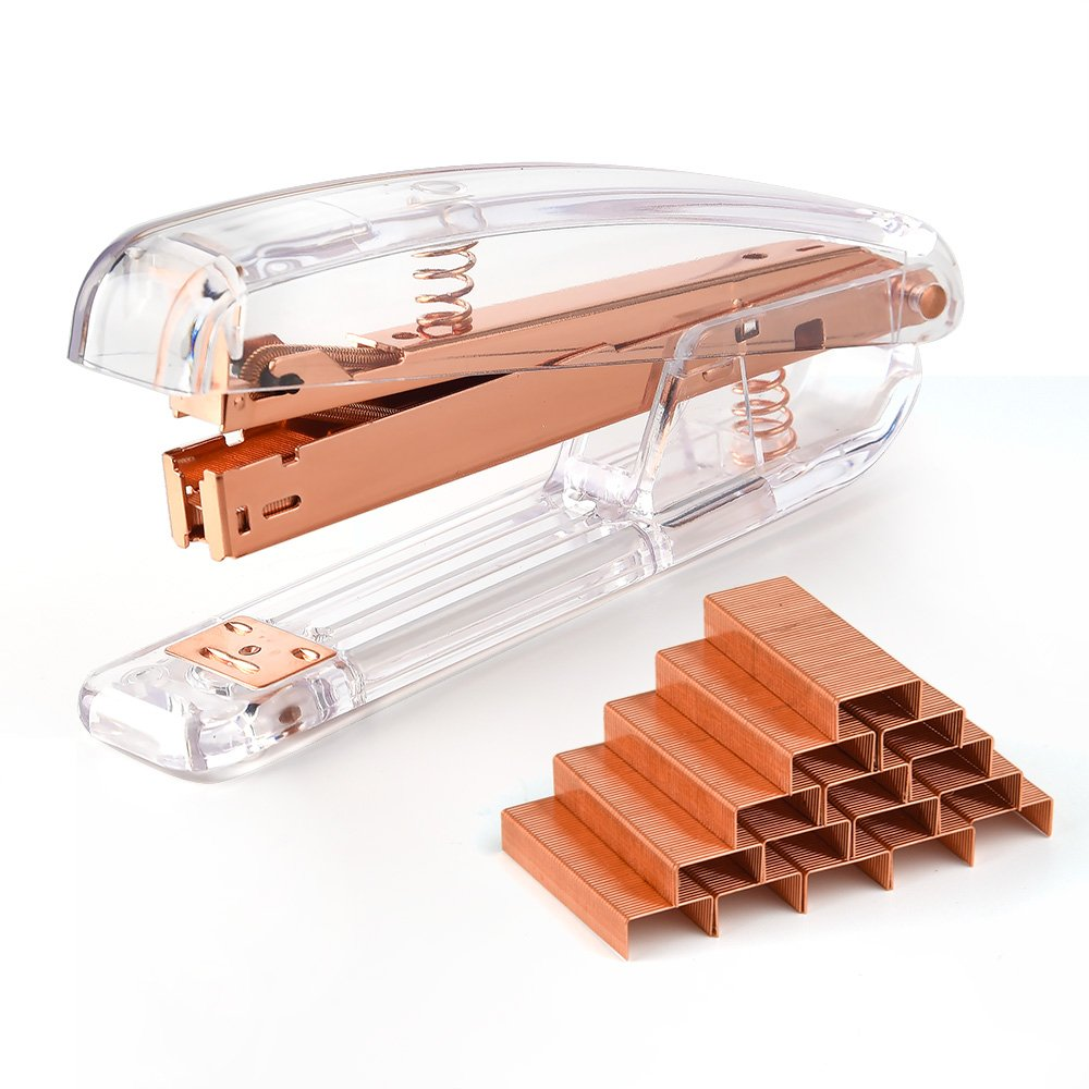 Coopay Clear Acrylic Stapler Rose Gold Desktop Stapler with 2000 Pieces Rose Gold Staples for Office Desk Accessory