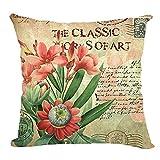 Retro Sweet Flowers Cotton Linen Decorative Throw Pillow Case Cushion Cover F