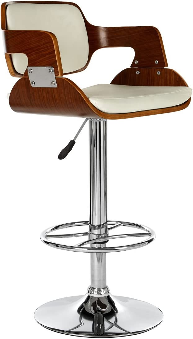 Premier Housewares Bar Stool Walnut and Black Leather Effect 89-110 x 39 x 46 cm