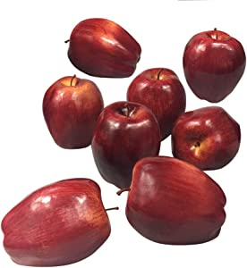 Fake Fruit Artificial Apples for Home Kitchen Table Basket Decoration 8pcs (Dark Red Apples)